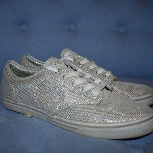 VANS Women's Silver Sparkle Lace-Ups NEVER WORN